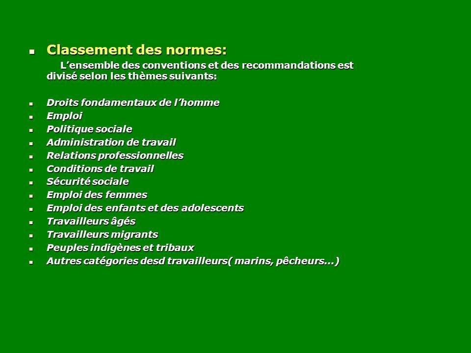 Classement des normes: Classement des normes: Lensemble des conventions et des recommandations est divisé selon les thèmes suivants: Lensemble des con
