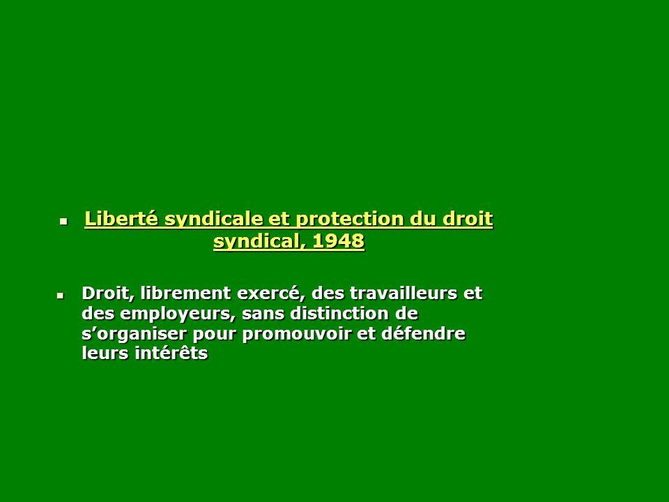 Liberté syndicale et protection du droit syndical, 1948 Liberté syndicale et protection du droit syndical, 1948 Droit, librement exercé, des travaille
