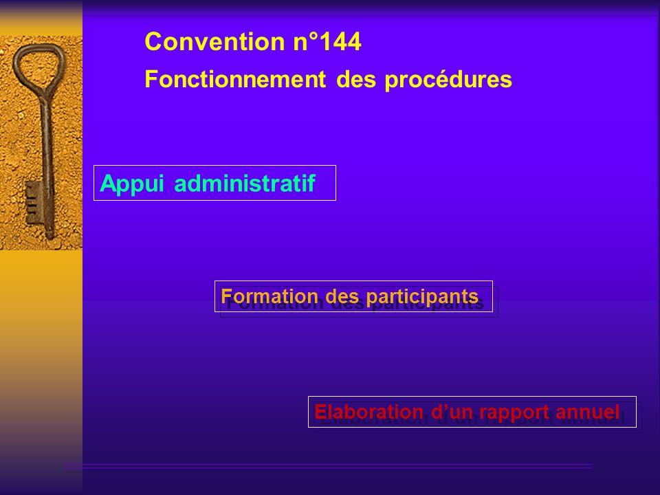 Formation des participants Appui administratif Fonctionnement des procédures Convention n°144 Elaboration dun rapport annuel