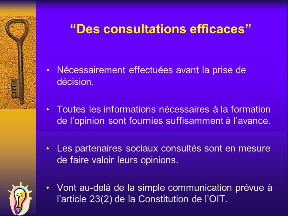 Des consultations efficaces Nécessairement effectuées avant la prise de décision. Toutes les informations nécessaires à la formation de lopinion sont