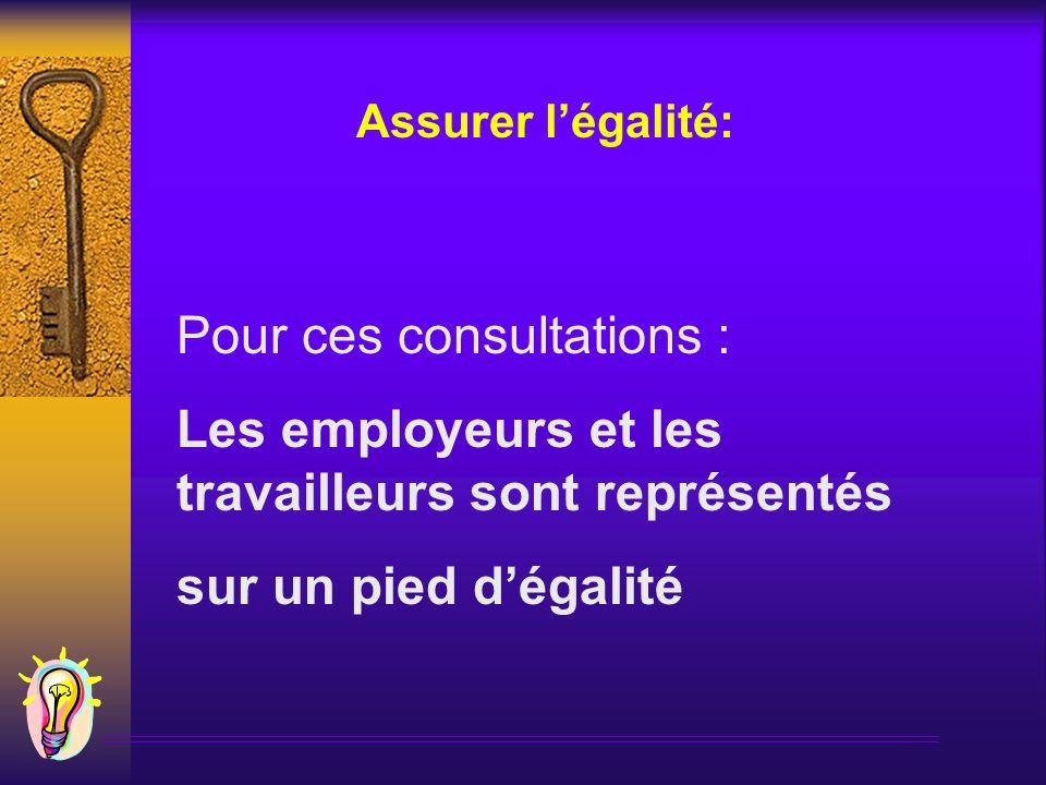 Pour ces consultations : Les employeurs et les travailleurs sont représentés sur un pied dégalité Assurer légalité: