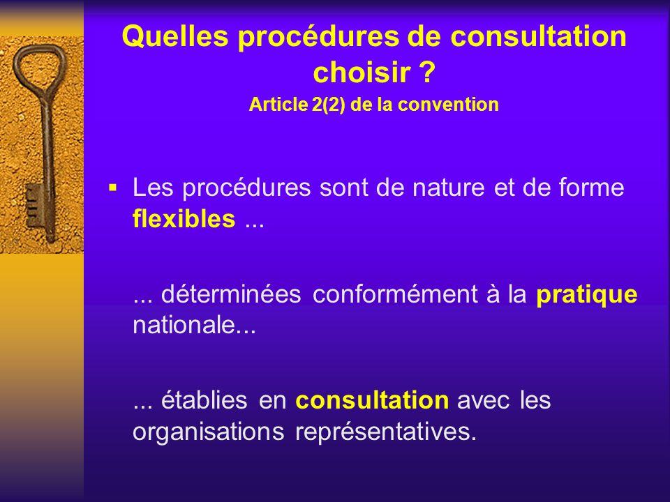 Quelles procédures de consultation choisir ? Article 2(2) de la convention Les procédures sont de nature et de forme flexibles...... déterminées confo