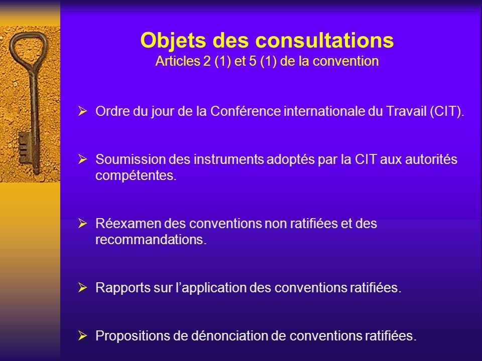 Objets des consultations Articles 2 (1) et 5 (1) de la convention Ordre du jour de la Conférence internationale du Travail (CIT). Soumission des instr
