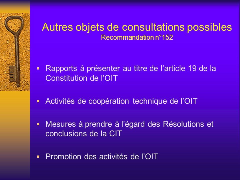 Autres objets de consultations possibles Recommandation n°152 Rapports à présenter au titre de larticle 19 de la Constitution de lOIT Activités de coopération technique de lOIT Mesures à prendre à légard des Résolutions et conclusions de la CIT Promotion des activités de lOIT