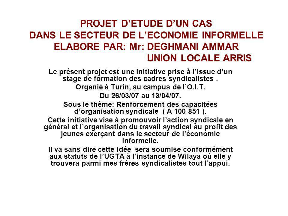 PROJET DETUDE DUN CAS DANS LE SECTEUR DE LECONOMIE INFORMELLE ELABORE PAR: Mr: DEGHMANI AMMAR UNION LOCALE ARRIS Le présent projet est une initiative