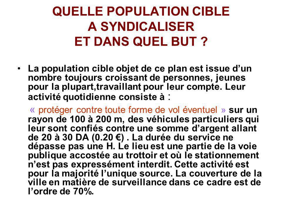 QUELLE POPULATION CIBLE A SYNDICALISER ET DANS QUEL BUT ? La population cible objet de ce plan est issue dun nombre toujours croissant de personnes, j