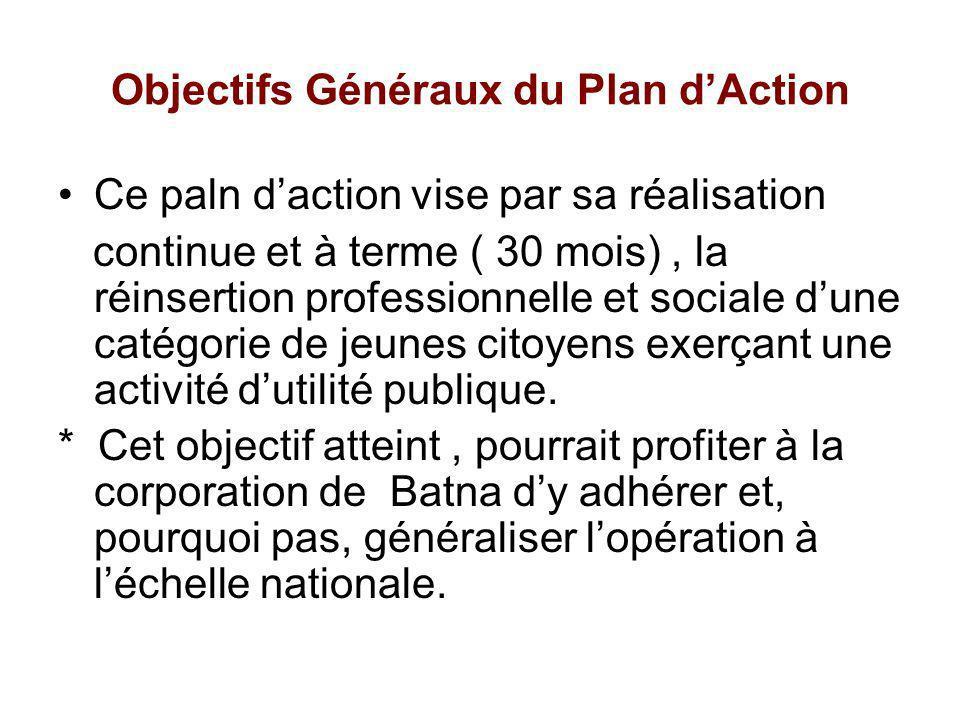 Objectifs Généraux du Plan dAction Ce paln daction vise par sa réalisation continue et à terme ( 30 mois), la réinsertion professionnelle et sociale d