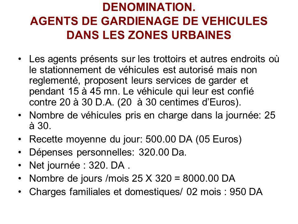 DENOMINATION. AGENTS DE GARDIENAGE DE VEHICULES DANS LES ZONES URBAINES Les agents présents sur les trottoirs et autres endroits où le stationnement d