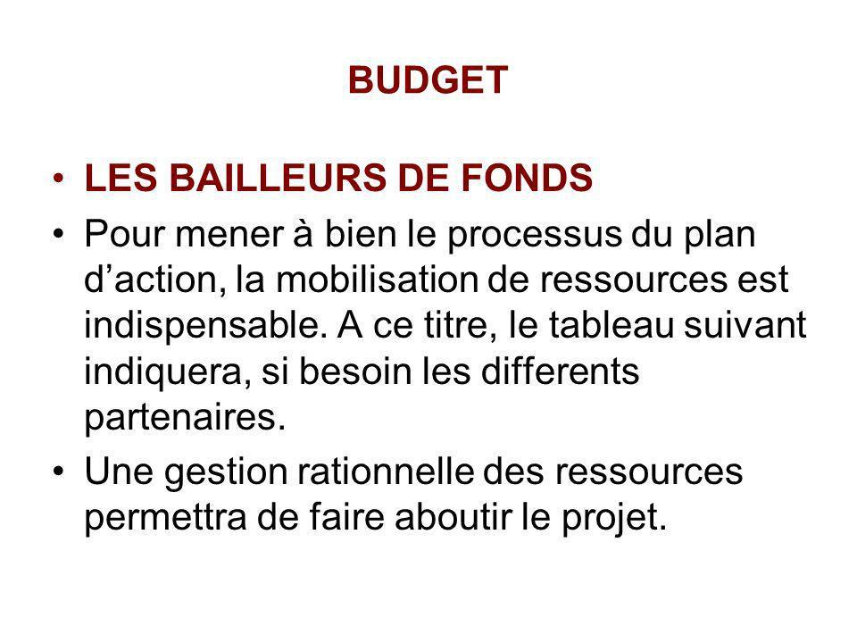 BUDGET LES BAILLEURS DE FONDS Pour mener à bien le processus du plan daction, la mobilisation de ressources est indispensable. A ce titre, le tableau
