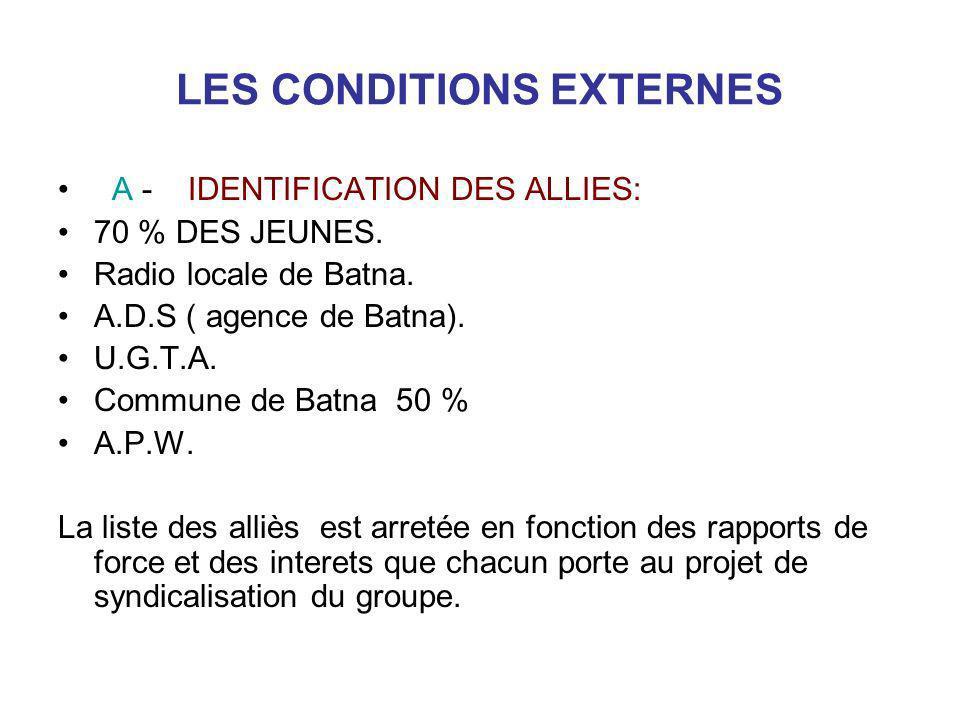 LES CONDITIONS EXTERNES A - IDENTIFICATION DES ALLIES: 70 % DES JEUNES. Radio locale de Batna. A.D.S ( agence de Batna). U.G.T.A. Commune de Batna 50