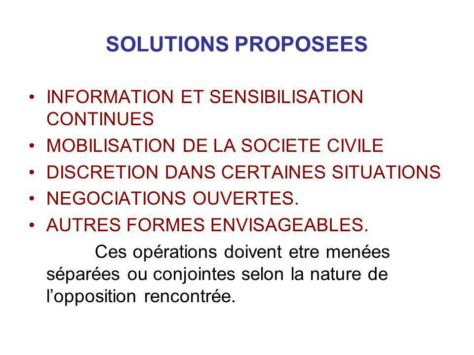 SOLUTIONS PROPOSEES INFORMATION ET SENSIBILISATION CONTINUES MOBILISATION DE LA SOCIETE CIVILE DISCRETION DANS CERTAINES SITUATIONS NEGOCIATIONS OUVER