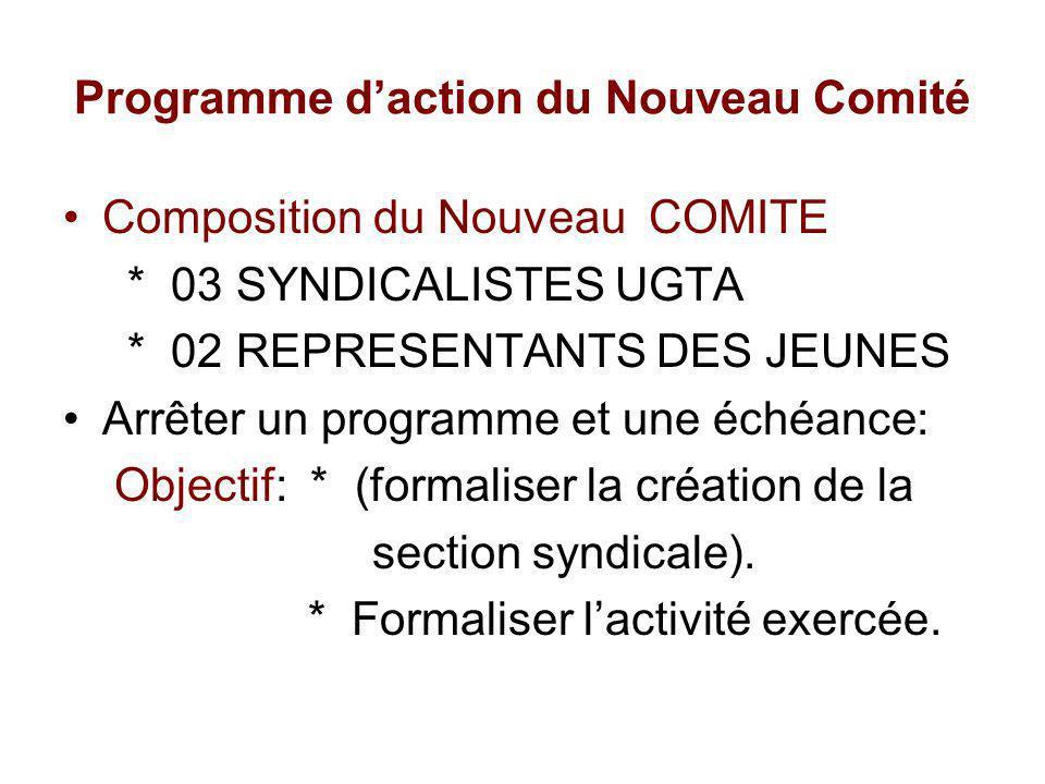Programme daction du Nouveau Comité Composition du Nouveau COMITE * 03 SYNDICALISTES UGTA * 02 REPRESENTANTS DES JEUNES Arrêter un programme et une éc