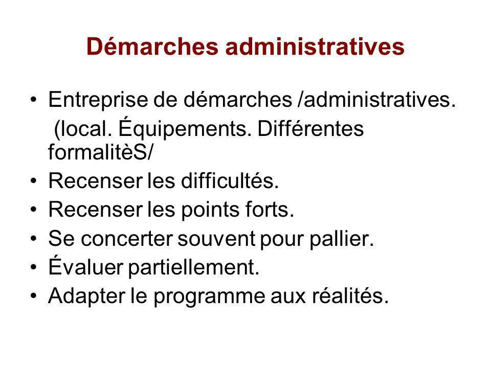 Démarches administratives Entreprise de démarches /administratives. (local. Équipements. Différentes formalitèS/ Recenser les difficultés. Recenser le