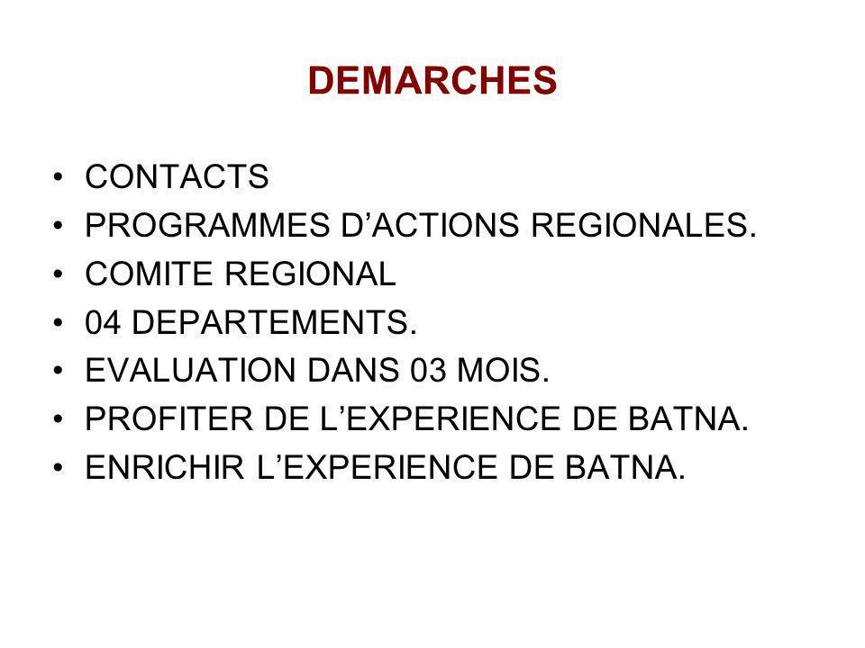 DEMARCHES CONTACTS PROGRAMMES DACTIONS REGIONALES. COMITE REGIONAL 04 DEPARTEMENTS. EVALUATION DANS 03 MOIS. PROFITER DE LEXPERIENCE DE BATNA. ENRICHI
