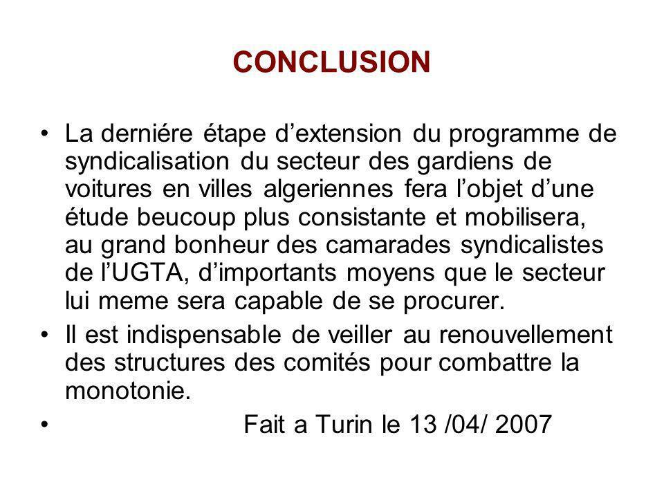 CONCLUSION La derniére étape dextension du programme de syndicalisation du secteur des gardiens de voitures en villes algeriennes fera lobjet dune étu