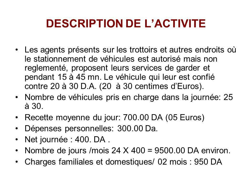 DESCRIPTION DE LACTIVITE Les agents présents sur les trottoirs et autres endroits où le stationnement de véhicules est autorisé mais non reglementé, p