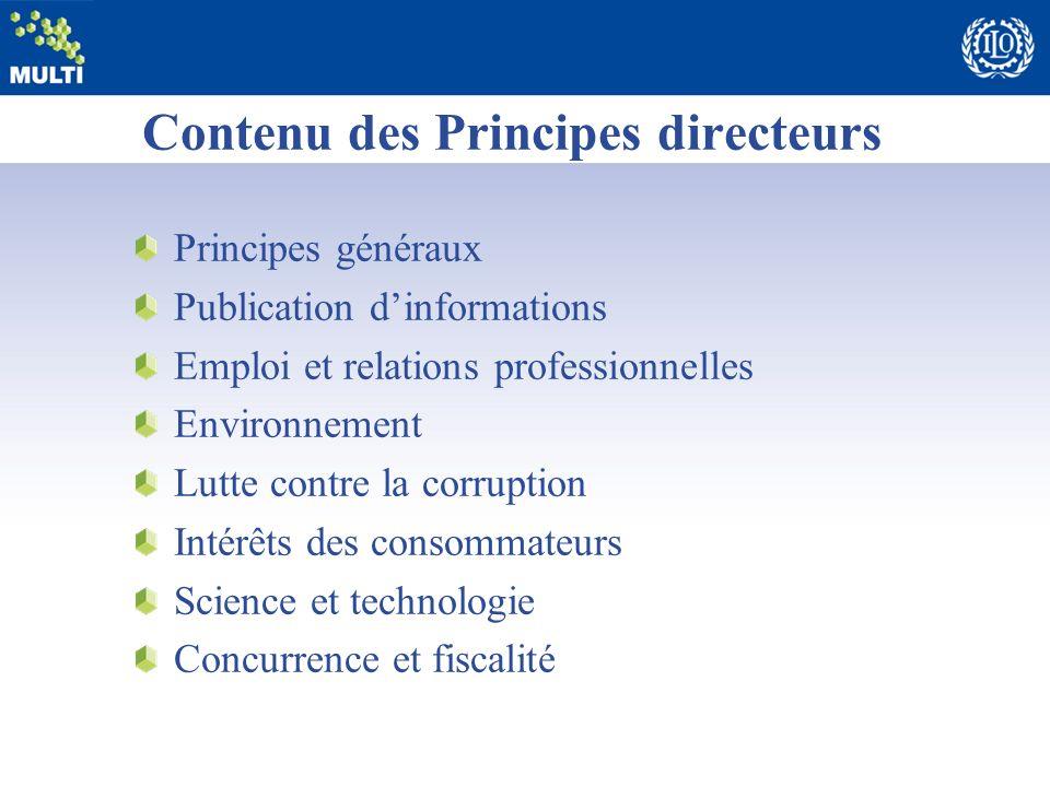 Contenu des Principes directeurs Principes généraux Publication dinformations Emploi et relations professionnelles Environnement Lutte contre la corru