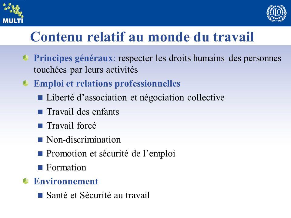 Contenu relatif au monde du travail Principes généraux: respecter les droits humains des personnes touchées par leurs activités Emploi et relations pr