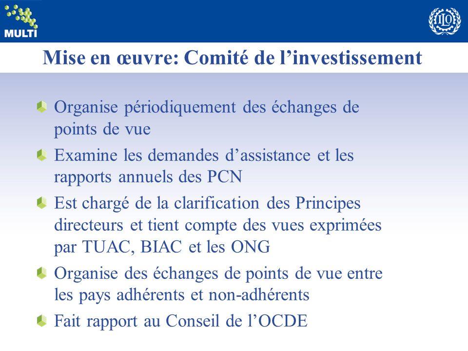 Mise en œuvre: Comité de linvestissement Organise périodiquement des échanges de points de vue Examine les demandes dassistance et les rapports annuel