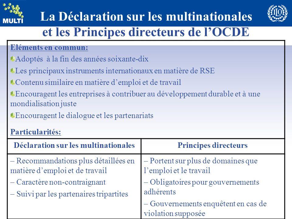 La Déclaration sur les multinationales et les Principes directeurs de lOCDE Eléments en commun: Adoptés à la fin des années soixante-dix Les principau