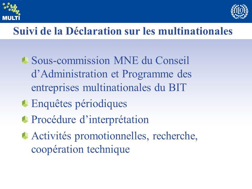 Suivi de la Déclaration sur les multinationales Sous-commission MNE du Conseil dAdministration et Programme des entreprises multinationales du BIT Enq