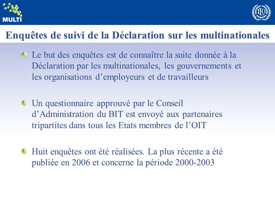 Enquêtes de suivi de la Déclaration sur les multinationales Le but des enquêtes est de connaître la suite donnée à la Déclaration par les multinationa