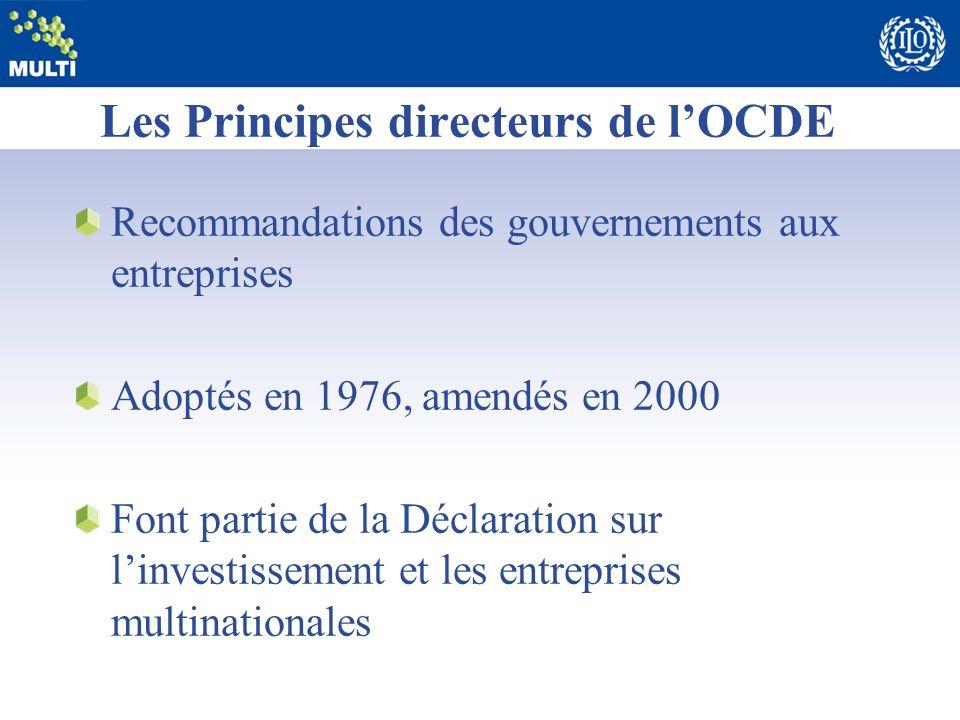 Les Principes directeurs de lOCDE Recommandations des gouvernements aux entreprises Adoptés en 1976, amendés en 2000 Font partie de la Déclaration sur