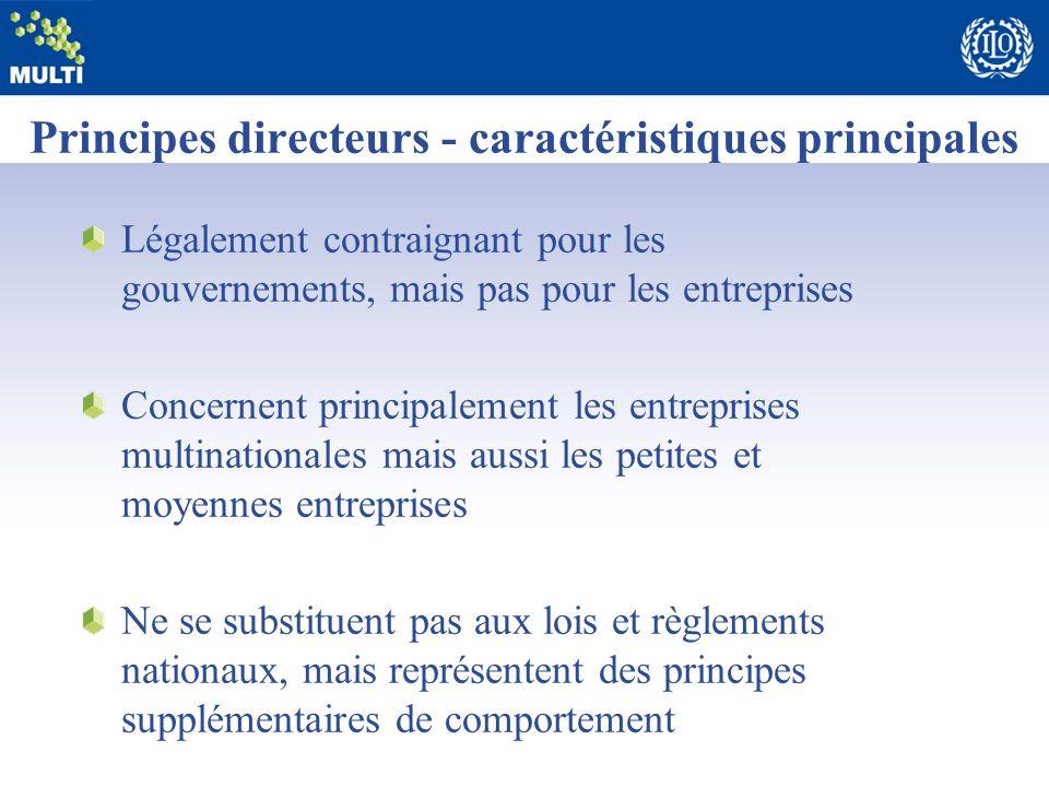 Principes directeurs - caractéristiques principales Légalement contraignant pour les gouvernements, mais pas pour les entreprises Concernent principal