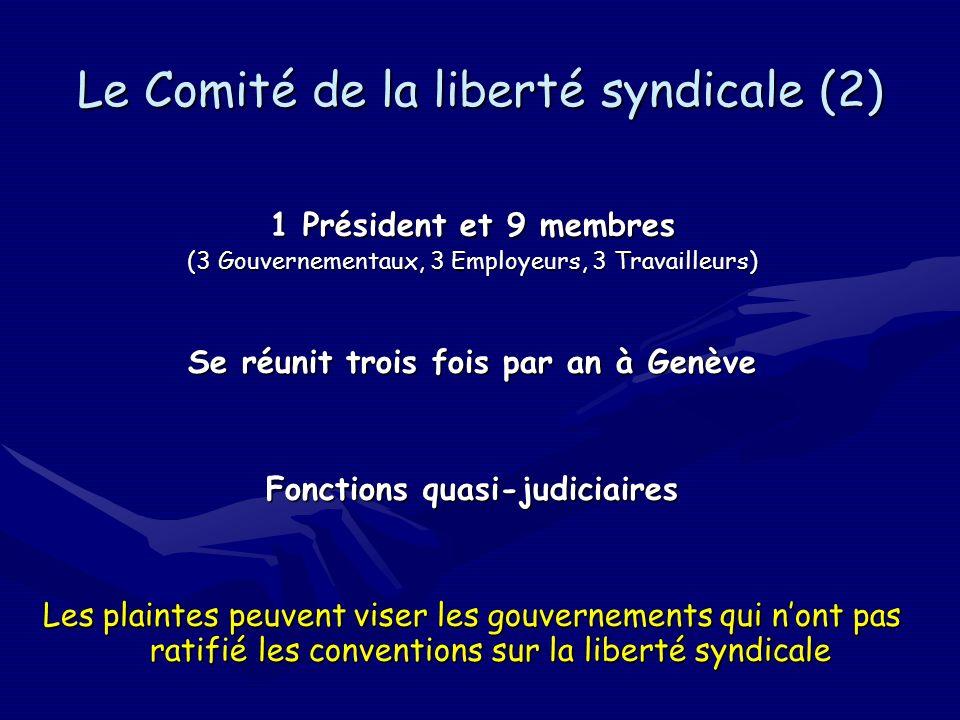 Le Comité de la liberté syndicale (2) 1 Président et 9 membres (3 Gouvernementaux, 3 Employeurs, 3 Travailleurs) Se réunit trois fois par an à Genève Fonctions quasi-judiciaires Les plaintes peuvent viser les gouvernements qui nont pas ratifié les conventions sur la liberté syndicale