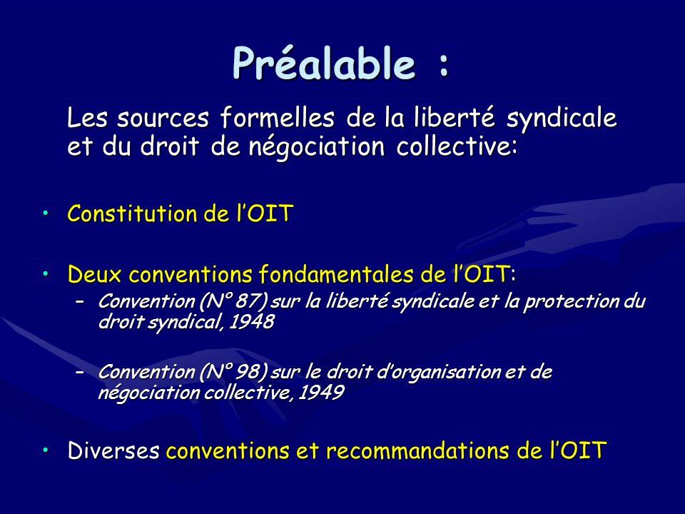 Procédure spéciale de contrôle de lOIT en matière de liberté syndicale: Le recours devant Le recours devant le Comité de la liberté syndicale