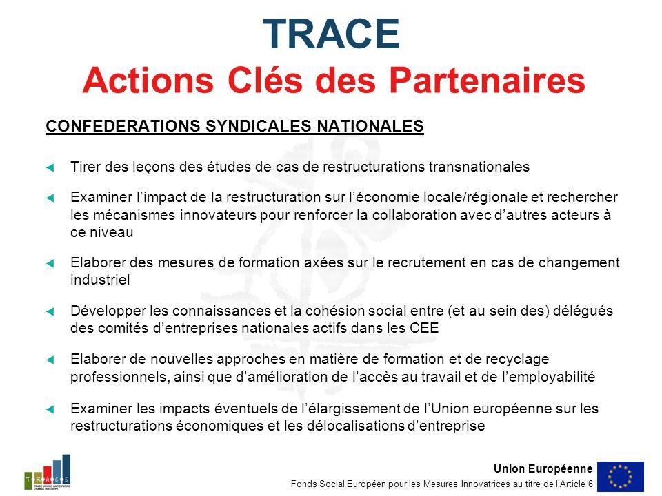 TRACE Actions Clés des Partenaires CONFEDERATIONS SYNDICALES NATIONALES Tirer des leçons des études de cas de restructurations transnationales Examiner limpact de la restructuration sur léconomie locale/régionale et rechercher les mécanismes innovateurs pour renforcer la collaboration avec dautres acteurs à ce niveau Elaborer des mesures de formation axées sur le recrutement en cas de changement industriel Développer les connaissances et la cohésion social entre (et au sein des) délégués des comités dentreprises nationales actifs dans les CEE Elaborer de nouvelles approches en matière de formation et de recyclage professionnels, ainsi que damélioration de laccès au travail et de lemployabilité Examiner les impacts éventuels de lélargissement de lUnion européenne sur les restructurations économiques et les délocalisations dentreprise Union Européenne Fonds Social Européen pour les Mesures Innovatrices au titre de lArticle 6