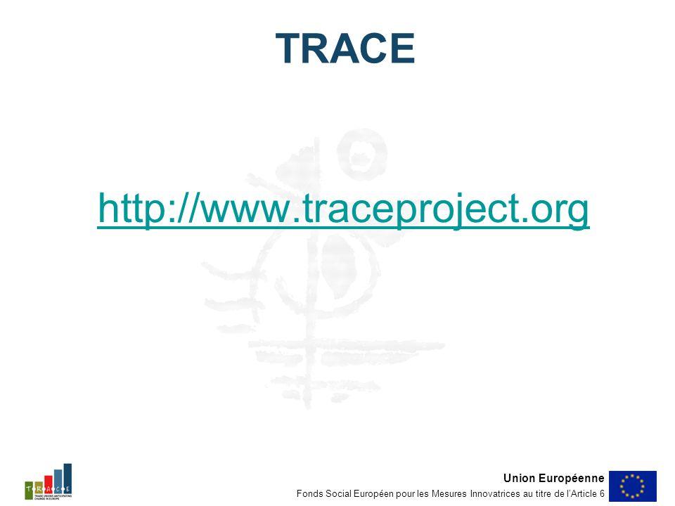 TRACE http://www.traceproject.org Union Européenne Fonds Social Européen pour les Mesures Innovatrices au titre de lArticle 6