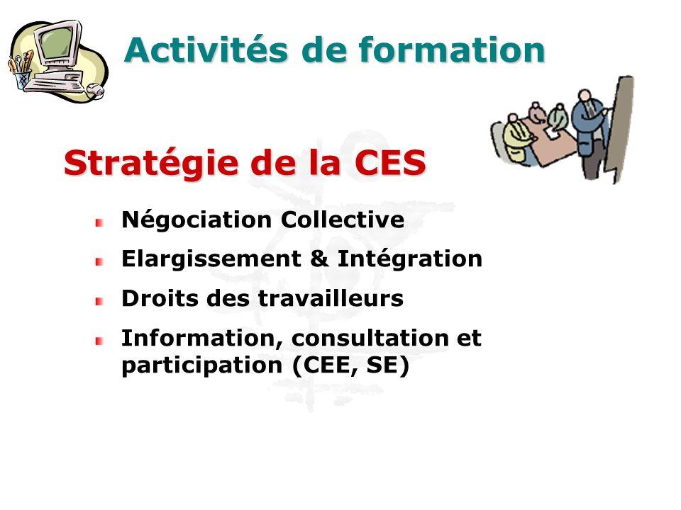 Activités de formation Négociation Collective Elargissement & Intégration Droits des travailleurs Information, consultation et participation (CEE, SE) Stratégie de la CES
