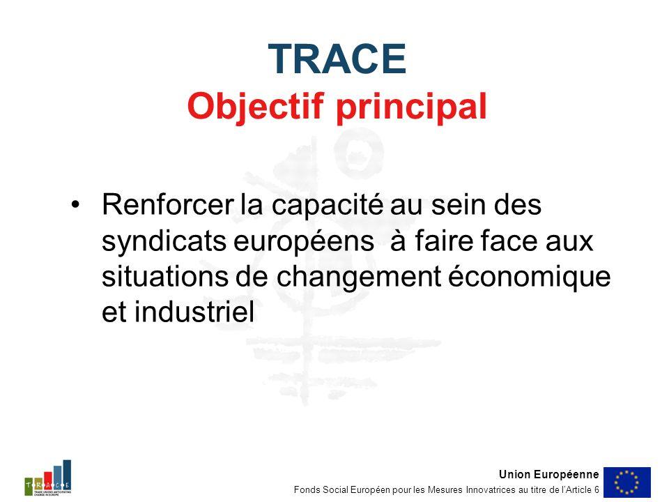 TRACE Objectif principal Renforcer la capacité au sein des syndicats européens à faire face aux situations de changement économique et industriel Union Européenne Fonds Social Européen pour les Mesures Innovatrices au titre de lArticle 6