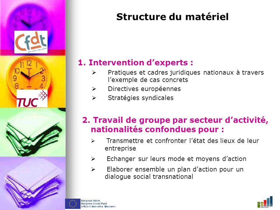 1. Intervention dexperts : Pratiques et cadres juridiques nationaux à travers lexemple de cas concrets Directives européennes Stratégies syndicales 2.