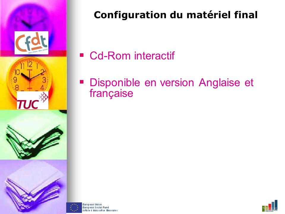 Configuration du matériel final Cd-Rom interactif Disponible en version Anglaise et française