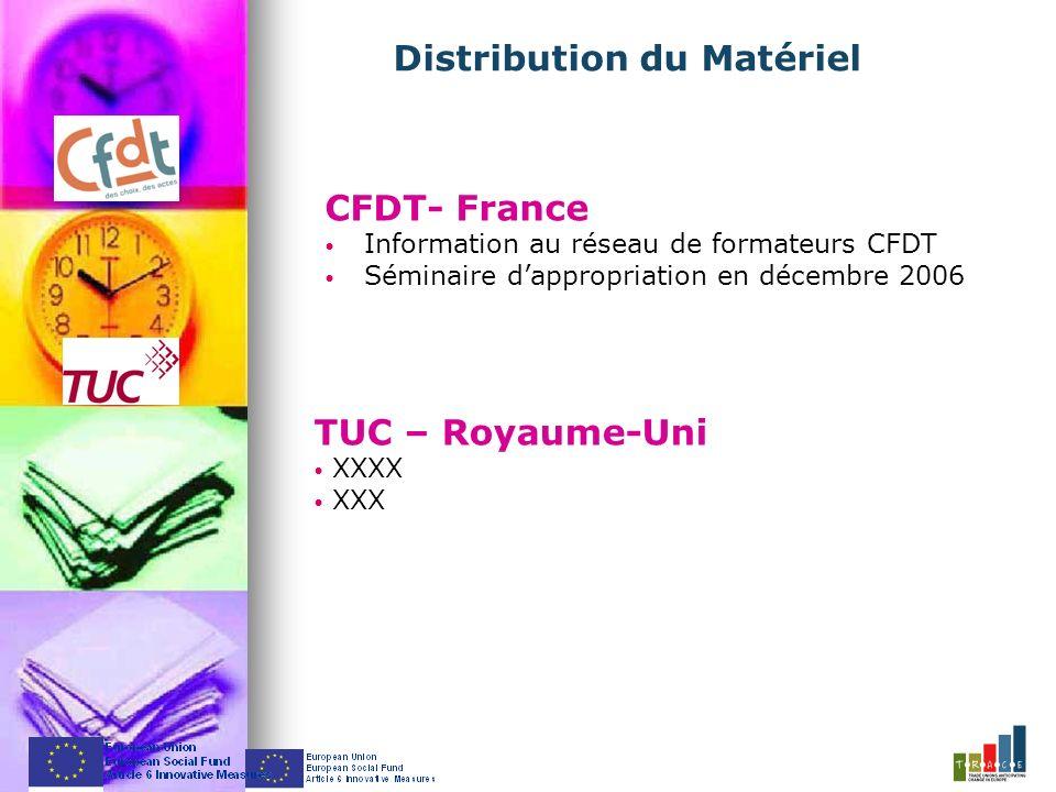 CFDT- France Information au réseau de formateurs CFDT Séminaire dappropriation en décembre 2006 Distribution du Matériel TUC – Royaume-Uni XXXX XXX