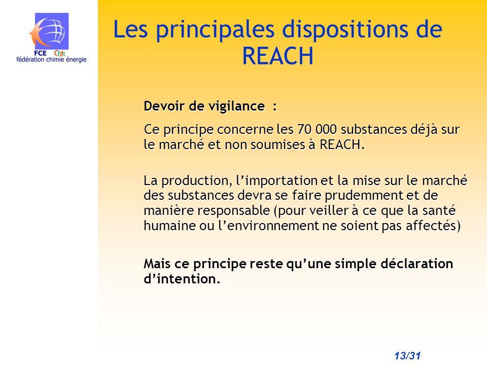 13/31 Les principales dispositions de REACH Devoir de vigilance : Ce principe concerne les 70 000 substances déjà sur le marché et non soumises à REACH.
