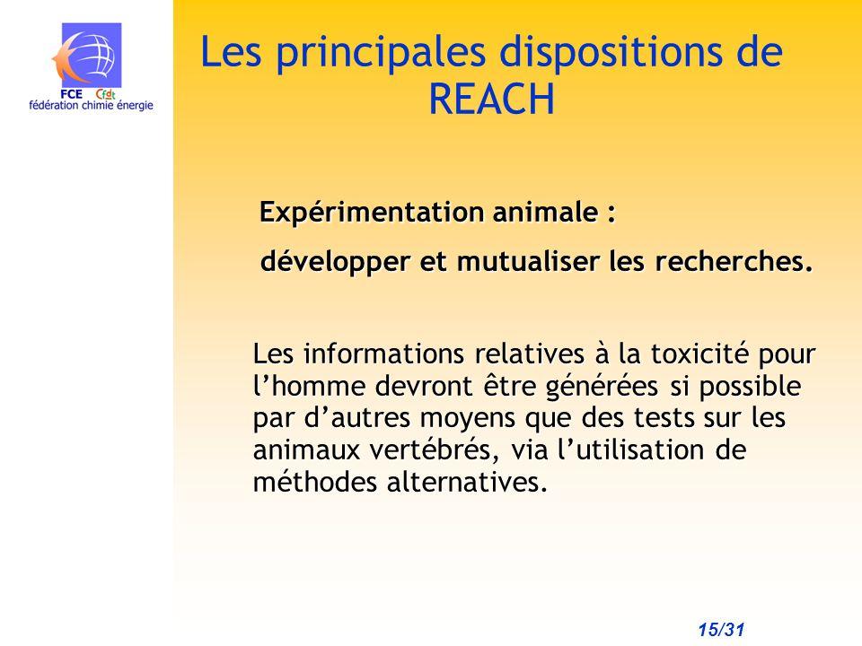 15/31 Les principales dispositions de REACH Expérimentation animale : Expérimentation animale : développer et mutualiser les recherches.