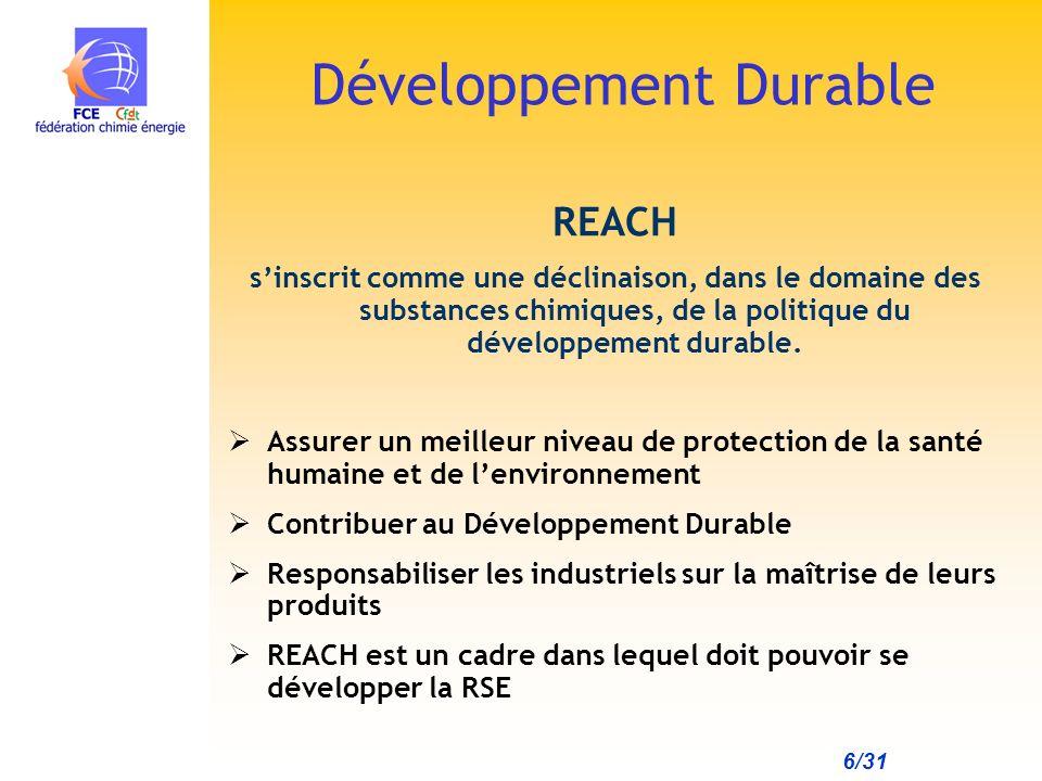 6/31 REACH sinscrit comme une déclinaison, dans le domaine des substances chimiques, de la politique du développement durable.