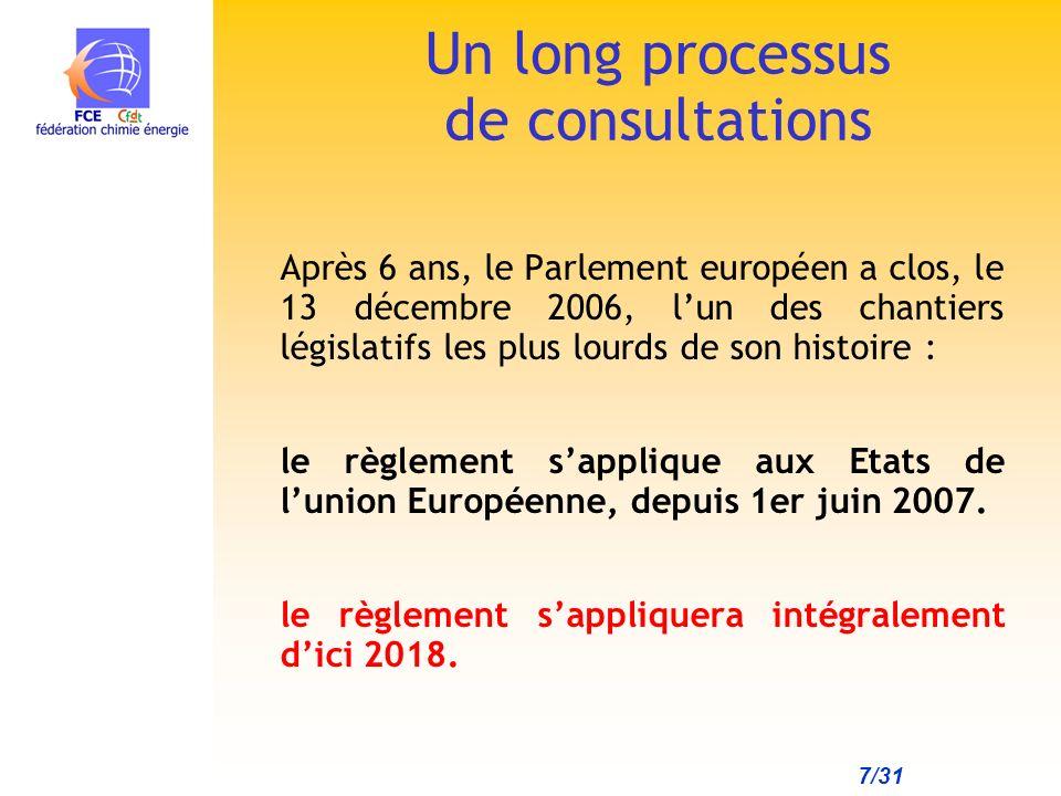 7/31 Après 6 ans, le Parlement européen a clos, le 13 décembre 2006, lun des chantiers législatifs les plus lourds de son histoire : le règlement sapplique aux Etats de lunion Européenne, depuis 1er juin 2007.