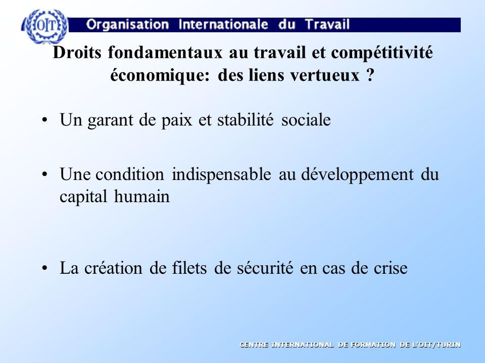 CENTRE INTERNATIONAL DE FORMATION DE LOIT/TURIN Droits fondamentaux au travail et compétitivité économique: des liens vertueux .