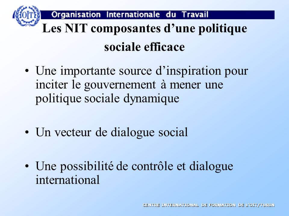 CENTRE INTERNATIONAL DE FORMATION DE LOIT/TURIN CARACTERISTIQUES DES NIT tripartisme universalité souplesse sujettes à un contrôle international
