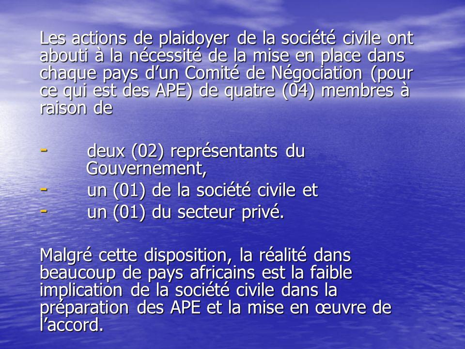Les actions de plaidoyer de la société civile ont abouti à la nécessité de la mise en place dans chaque pays dun Comité de Négociation (pour ce qui est des APE) de quatre (04) membres à raison de - deux (02) représentants du Gouvernement, - un (01) de la société civile et - un (01) du secteur privé.