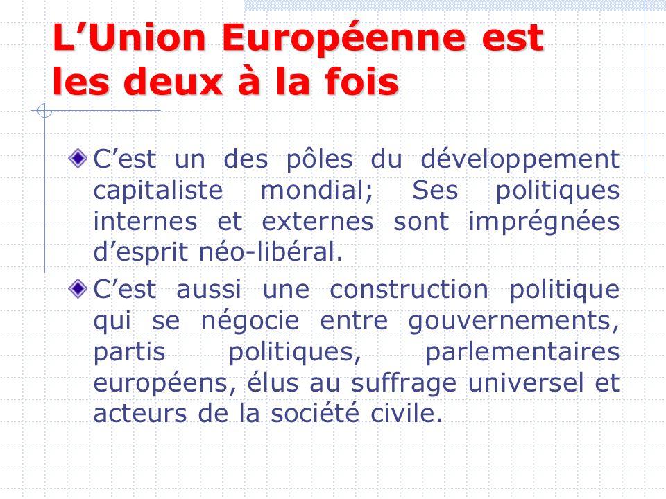LUnion Européenne est les deux à la fois Cest un des pôles du développement capitaliste mondial; Ses politiques internes et externes sont imprégnées desprit néo-libéral.