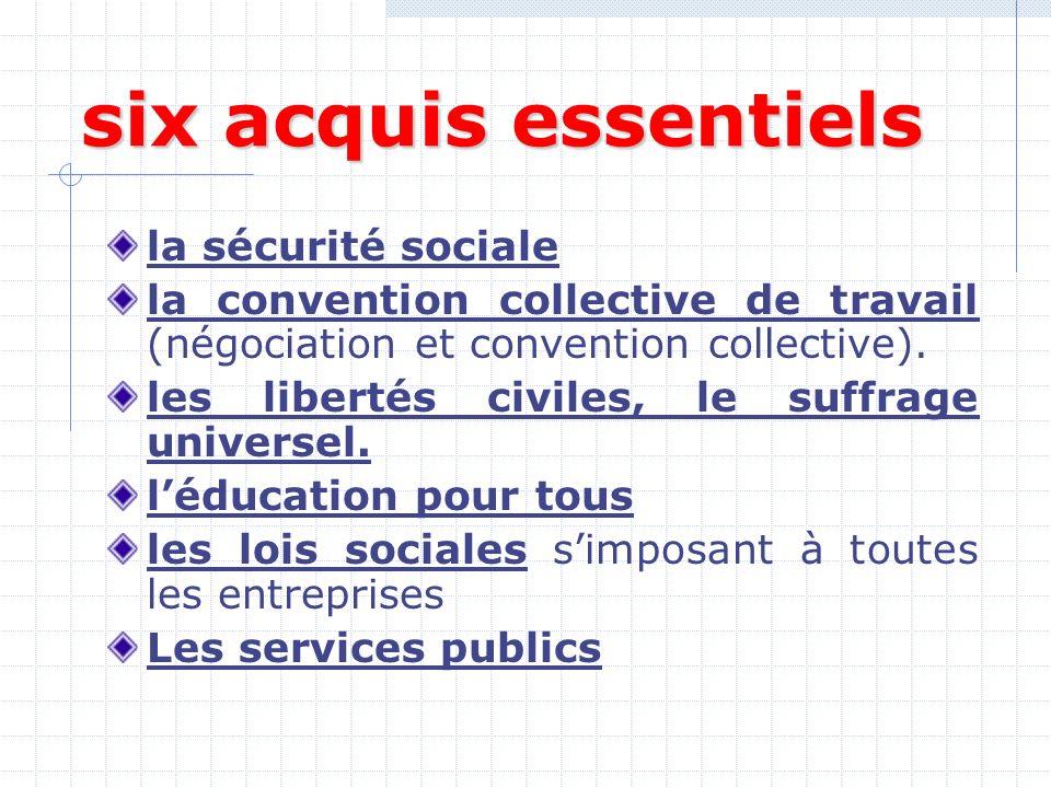 six acquis essentiels la sécurité sociale la convention collective de travail (négociation et convention collective).
