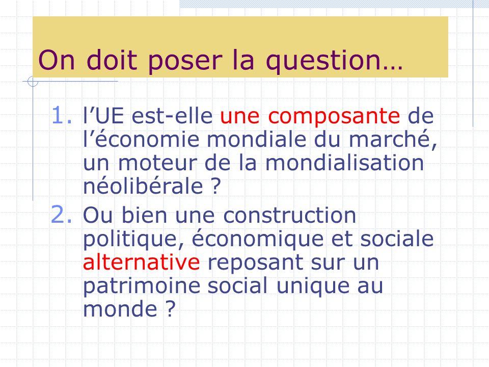 On doit poser la question… 1. lUE est-elle une composante de léconomie mondiale du marché, un moteur de la mondialisation néolibérale ? 2. Ou bien une