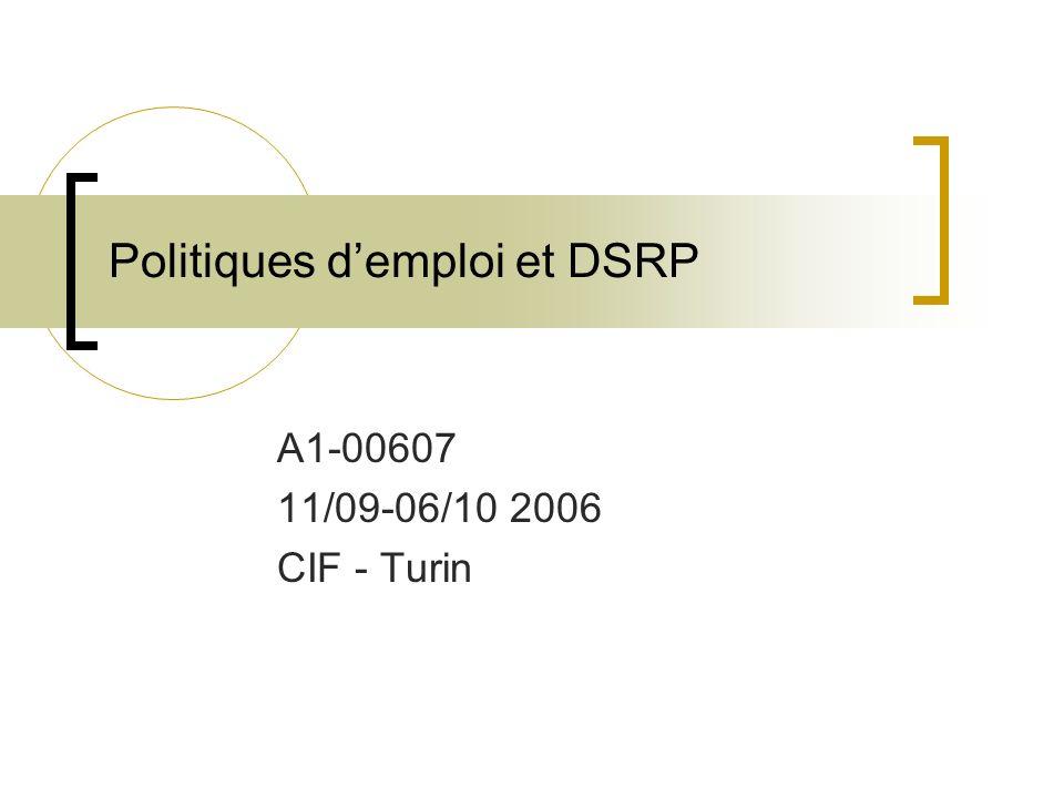 Politiques demploi et DSRP A1-00607 11/09-06/10 2006 CIF - Turin