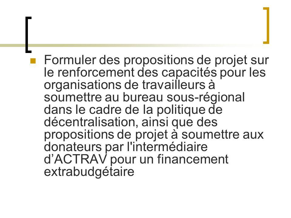 Formuler des propositions de projet sur le renforcement des capacités pour les organisations de travailleurs à soumettre au bureau sous-régional dans le cadre de la politique de décentralisation, ainsi que des propositions de projet à soumettre aux donateurs par l intermédiaire dACTRAV pour un financement extrabudgétaire