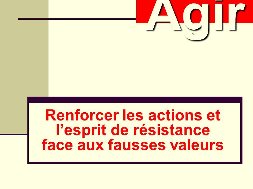 Renforcer les actions et lesprit de résistance face aux fausses valeurs AgirAgir